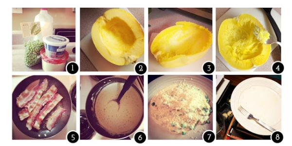 1. Milk, english peas, light cream cheese, & parmesan 2. Slicing that squash was not easy, but all my digits are intact  3. You can really scrape all the way out to the skin, so waste not! 4. Spaghetti Squash is no longer daunting, it practically falls apart with no pressure. 5. BACON 6. The sauce with peas, great thickness to it that I wasn't expecting 7. Finished product 8. Happy (Empty) Plate!