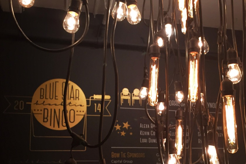 My repurposed designs and these beautiful vintage bulbs placed in a modern installation created a larger than life event feel.